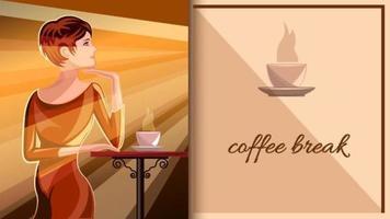 donna con una tazza di caffè al tavolo