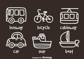 Icone di disegnare a mano di trasporto