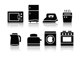 Icone di elettrodomestici per la casa minimalista vettore