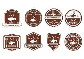 Set di distintivo di frittura di pesce vettore