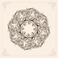 mandala marrone con elementi floreali