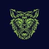 testa di lupo arrabbiato
