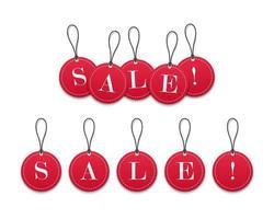 Vendita di cartellini dei prezzi di carta rossa 3d