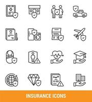 set di icone linea assicurativa vettore