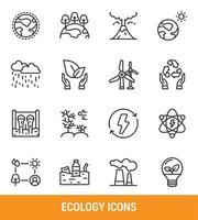 set di icone linea ecologia vettore