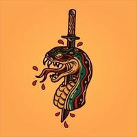 tatuaggio di serpente e pugnale vettore