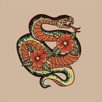 disegno del tatuaggio tradizionale serpente e fiori vettore