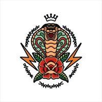 disegno tradizionale del tatuaggio del cobra vettore