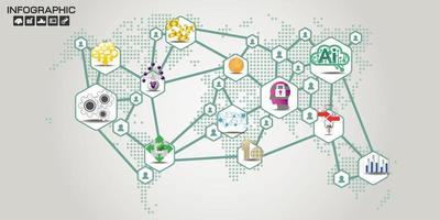 persone connessione mappa del mondo infografica vettore