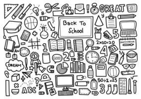 torna a scuola insieme di elementi disegnati a mano vettore