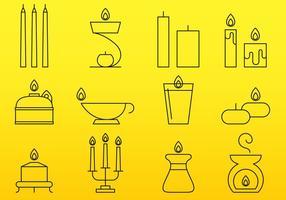 Icone di linea di candele vettore