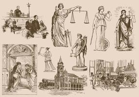 Disegni di Giustizia e Legge vettore
