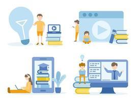 studenti che imparano con corsi online vettore