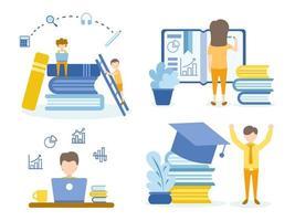 studenti che fanno i compiti e imparano corsi online vettore