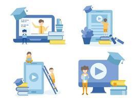 studenti che imparano attraverso corsi online vettore