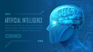 testa di robot futuristico ai nel concetto di vista laterale