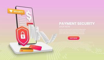 concetto di sicurezza di pagamento con scudo del telefono