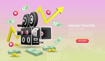concetto di servizio di cinema online con elementi colorati vettore
