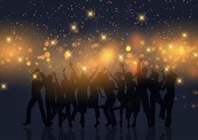 folla del partito sulle luci del bokeh dell'oro vettore