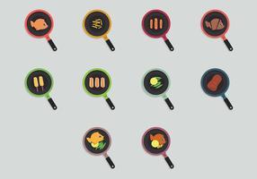 Set di icone di frittura di pesce vettore
