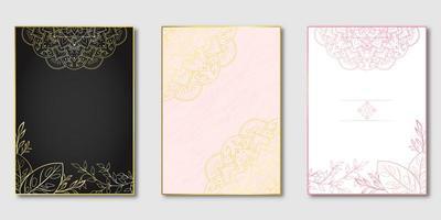 set copertina mandala floreale rosa e oro