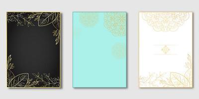 disegno botanico in oro su copertine nere, blu e bianche