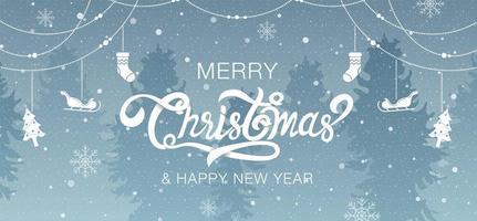 scena della foresta buon Natale calligrafia e decorazioni vettore