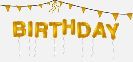 palloncini lettera di compleanno e bandiere dorate vettore