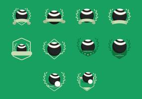 Icona di modelli vintage di bocce di prato vettore