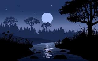 bellissima foresta di notte vettore