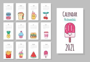 simpatico calendario mensile con oggetti alimentari kawaii vettore