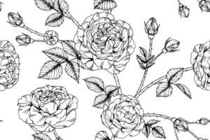 Reticolo senza giunte delle rose disegnate a mano vettore