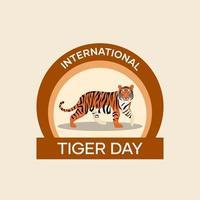 distintivo di giorno internazionale della tigre vettore