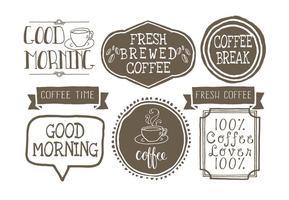 Lables di caffè stile disegnato a mano sveglio