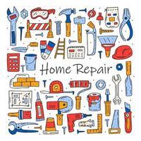 insieme disegnato a mano variopinto di scarabocchio degli strumenti di riparazione domestica