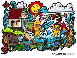Doodle festival di Songkran vettore
