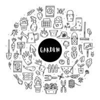 giardinaggio doodle linea arte insieme di elementi