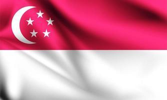 bandiera 3d di Singapore vettore