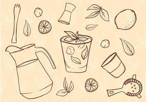 Set di Caipirinha disegnato a mano libera vettore