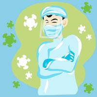 medico dei cartoni animati con indumenti protettivi e cellule virali
