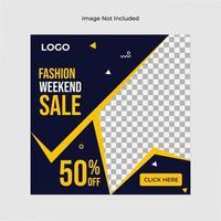 modello di social media nero e giallo di vendita di moda