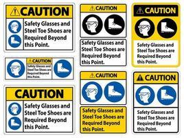 occhiali di sicurezza e scarpe con punta in acciaio vettore