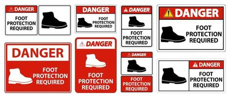 protezione del piede di pericolo richiesto segno simbolo della parete vettore