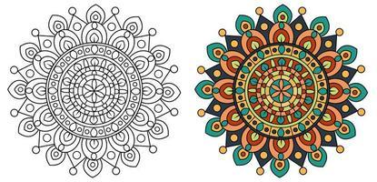mandala design da colorare contorno del modello di pagina vettore