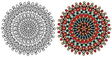 modello di pagina da colorare colorato mandala vettore
