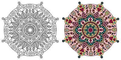 pagina da colorare di mandala design ornato vettore