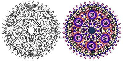 modello di pagina da colorare colorato mandala rotonda vettore