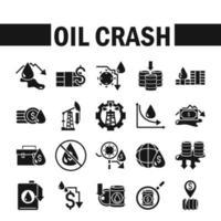 set di icone di crisi di arresto del prezzo del petrolio
