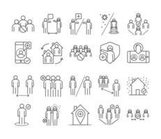 insieme dell'icona di stile di linea di prevenzione di distanza sociale