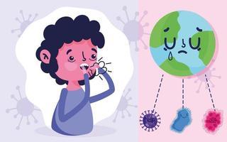 covid 19 design pandemico con ragazzo che tossisce con la febbre
